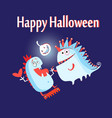 greeting card with monsters vector image vector image