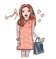hand drawn beautiful cute red-haired girl in an vector image vector image