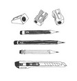 hand drawn stationery set vector image vector image