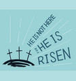 hand lettering not here he is risen with three vector image vector image