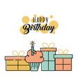 happy birthday cake gift boxes decoration vector image