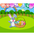 Happy Easter background with eggs and rabbit vector image vector image