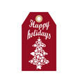 happy holidays promo label with silhouette of tree vector image