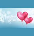 happy valentines day lettering text and valentine vector image vector image