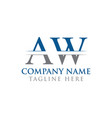 initial aw letter logo with creative modern vector image vector image