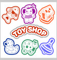 kids toys cartoon icons collection vector image