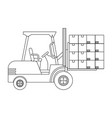 lift truck with boxes in black and white vector image