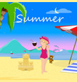 little girl on summer beach evening time vacation vector image vector image
