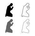man pray on his knees silhouette icon set grey vector image