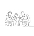 one continuous line drawing young muslim vector image vector image