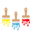 paintbrush icon set blue yellow red color drops vector image vector image