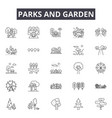 parks and garden line icons signs set vector image