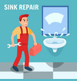 plumber in uniform with toolbox wrench in bathroom vector image vector image
