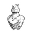 potion bottle with blank heart form label vector image