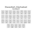 set of monochrome icons with swedish alphabet vector image