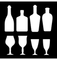 set white alcohol bottles and glass vector image