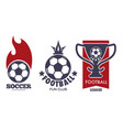 soccer logo set with sport ball and football vector image vector image