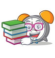 student with book alarm clock mascot cartoon vector image vector image