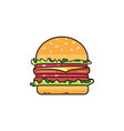 tasty burger isolated on white vector image vector image