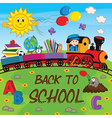 train with school supplies vector image vector image