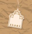Vintage blank badge with Christmas elements vector image