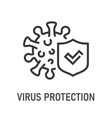 virus protection outline icon on white background vector image