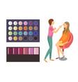 visage makeup of client woman palette set vector image