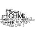 what is chm file text word cloud concept vector image vector image