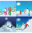 winter active holidays concept family healthy vector image vector image
