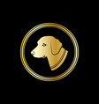 silhouette of a dog head in gold circle vector image