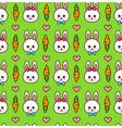 cute boy and girl rabbit bunny face vector image