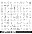 100 camping icons set outline style vector image vector image