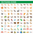 100 fauna icons set cartoon style