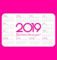 2019 year pocket calendar pink color simple