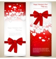 Beautiful greeting cards with white paper hearts vector image