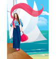 Beautiful woman on pier Portrait frame with yacht vector image vector image