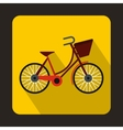 Bike with luggage icon flat style vector image vector image