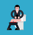 businessman on toilet guy is in wc vector image vector image
