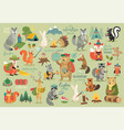 camping animals hand drawn style calligraphy vector image