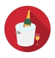 Champagne bottle in an ice bucket icon in flat vector image vector image