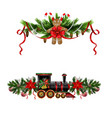 christmas decorations with fir tree and vector image vector image