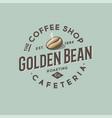 coffee shop cafeteria logo golden coffee bean vector image vector image