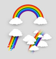 colorful rainbow with clouds set isolated rainbow vector image vector image