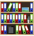 File folders standing on the shelves at office vector image