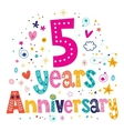 five years anniversary celebration decorative vector image vector image