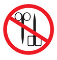 forbidden sign with scissors glyph icon no vector image vector image