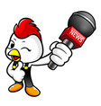 funny chicken character point a microphone vector image