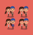 group of couples kawaii characters vector image