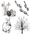 Hand Drawn Easter Icon Set vector image vector image