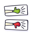 hand drawn thumbs up and down like and unlike vector image vector image